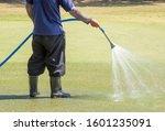 Gardener Watering Green Lawn....