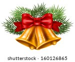 christmas bells with red ribbon ... | Shutterstock .eps vector #160126865