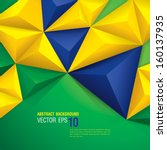 Vector geometric background in Brazil flag concept. Can be used in cover design, book design, website background, CD cover, advertising.