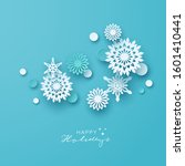 holiday snowflakes banner ... | Shutterstock .eps vector #1601410441