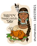 thanksgiving card with native...   Shutterstock .eps vector #160155821