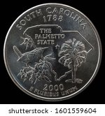 Coin 25 Us Cents. States And...