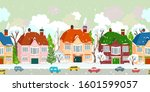 seamless border with winter... | Shutterstock .eps vector #1601599057