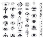 evil eyes symbol set. free hand ... | Shutterstock .eps vector #1601605684