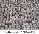 traditional roofing tiles on spanish house - stock photo