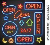 open neon sign | Shutterstock .eps vector #160163327