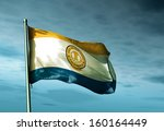 san jose  usa  flag waving on... | Shutterstock . vector #160164449