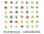 set of fruits and vegetables... | Shutterstock .eps vector #1601686441
