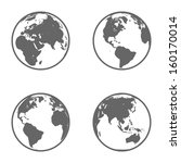 earth globe emblem. icon set.... | Shutterstock .eps vector #160170014