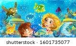 cartoon ocean and the mermaid...   Shutterstock . vector #1601735077