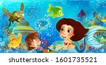 cartoon ocean and the mermaid...   Shutterstock . vector #1601735521