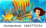 cartoon ocean scene and the...   Shutterstock . vector #1601772151