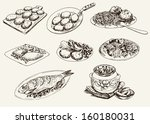 main dishes. set of vector... | Shutterstock .eps vector #160180031