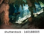 cave diving in cenote | Shutterstock . vector #160188005