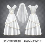 white wedding woman dress with... | Shutterstock .eps vector #1602054244
