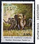laos   circa 1982  a stamp... | Shutterstock . vector #160205684