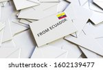 Letter with From Ecuador text on pile of other Letters. International mail related conceptual 3D rendering