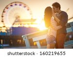 romantic couple kissing at... | Shutterstock . vector #160219655