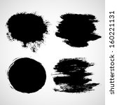 black paint splat set | Shutterstock .eps vector #160221131