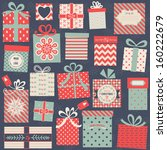 Collection of vector colorful Christmas present boxes. Holiday seamless pattern.