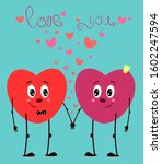 valentine s card with two... | Shutterstock .eps vector #1602247594