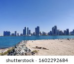 City view from Lulu island, Abu Dhabi.