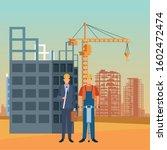 enginner and builder working...   Shutterstock .eps vector #1602472474