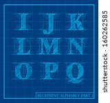vector blueprint style font... | Shutterstock .eps vector #160262585