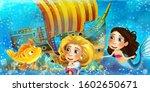 cartoon ocean scene and the...   Shutterstock . vector #1602650671