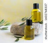 top view of bottles essential... | Shutterstock . vector #1602768337
