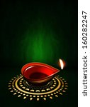 oil lamp with place for diwali... | Shutterstock . vector #160282247