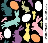 easter silhouettes eggs and...   Shutterstock .eps vector #1602857617