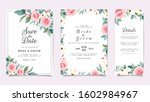 set of card with flowers.... | Shutterstock .eps vector #1602984967