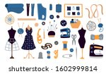 vector set of flat needlework... | Shutterstock .eps vector #1602999814