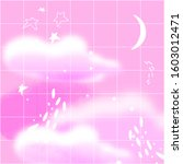 pink night sky with cresent ... | Shutterstock .eps vector #1603012471
