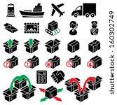vector parcel delivery icon set | Shutterstock .eps vector #160302749