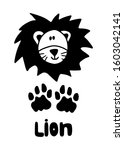 postcard with lion track  face... | Shutterstock .eps vector #1603042141