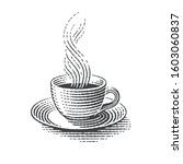 cup of hot drink. hand drawn... | Shutterstock .eps vector #1603060837