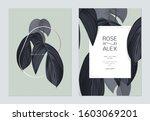 foliage wedding invitation card ...   Shutterstock .eps vector #1603069201