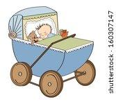 Baby Boy In Retro Stroller...