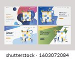 set of employees working with... | Shutterstock .eps vector #1603072084