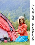 camp in the tent   young girl...   Shutterstock . vector #160310219