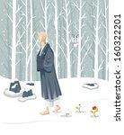 zen monk walking slowly. he is... | Shutterstock .eps vector #160322201