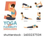 infographic of 5 yoga poses for ... | Shutterstock .eps vector #1603237534