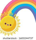 sun cartoon and rainbow design  ... | Shutterstock .eps vector #1603244737