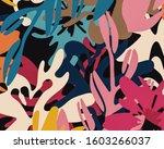 modern retro abstract floral... | Shutterstock . vector #1603266037