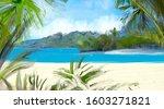 tropical island. seaside... | Shutterstock . vector #1603271821