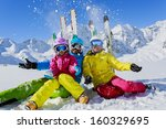 ski  winter  snow   skiers  sun ... | Shutterstock . vector #160329695