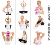 collage of young sporty woman... | Shutterstock . vector #160344854