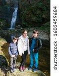 Portrait of three brothers near Fermona waterfall Ferrera, Italy